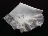 antique embroidered wedding hanky monogram JR