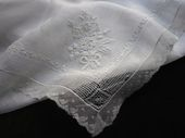 18th c. whitework embroidered handkerchief