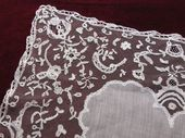19th c. linen and Brussels lace handkerchief