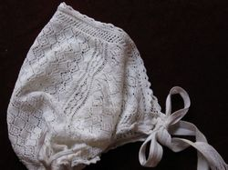 French vintage crocheted baby bonnet
