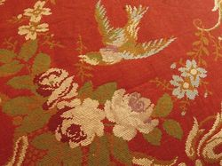 antique French textiles brocade wool table throw