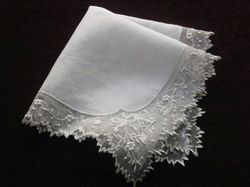 finest lace and embroidery bridal handkerchief