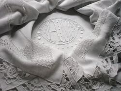 luxury queen sheets embroidery monogram AM