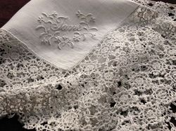 linen and Luxeuil lace handkerchief monogram AA