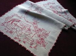 antique embroidered French table runner folk art