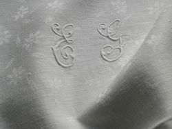 luxury French textile damask napkins monogram EG