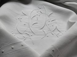 luxury linen bed set monogram JL