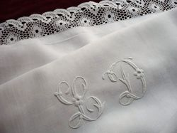 fine white linen and lace pillowcase monogram LD