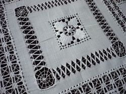 openwork embroidery fine white linen tablecloth