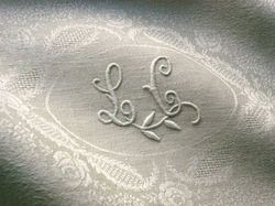 fine French linen table linens monogram LC