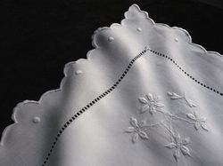 fine white embroidered linen euro square