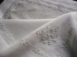 whitework lawn embroidered handkerchief
