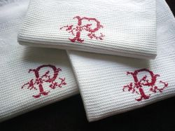 white cotton pique guest towels monogram P