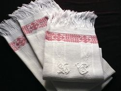 country French vintage hand towels monogram LC