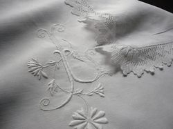 finest linen lace and embroidered pillowcase