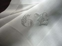 finest men's pocket square monogram GL