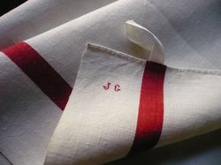 French red stripe antique linen towels