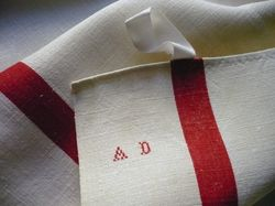 classic French linen red striped dish towels