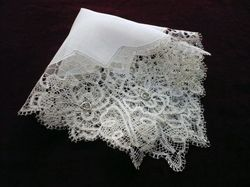 19th c. mixed lace wedding handkerchief