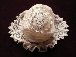 antique silk tulle embroidered baby bonnet