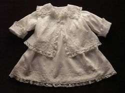 luxury infant wear lace and embroidered ensemble