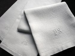 French torchon kitchen towels monogram GS