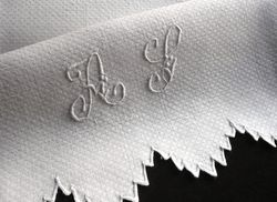 fine French damask hand towels monogram F