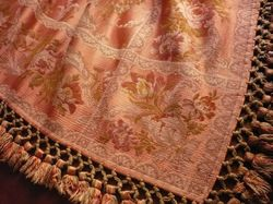 luxury French silk brocade fabric table throw