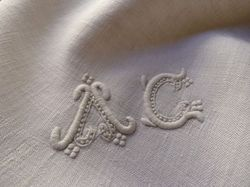 luxury French linen damask towels monogram BR