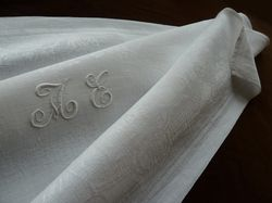 fine white linen damask table linen monogram PL