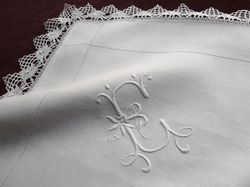 fine white linen pillowcases monogram EG