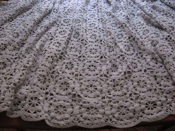 Vintage lacy crocheted French  bed cover