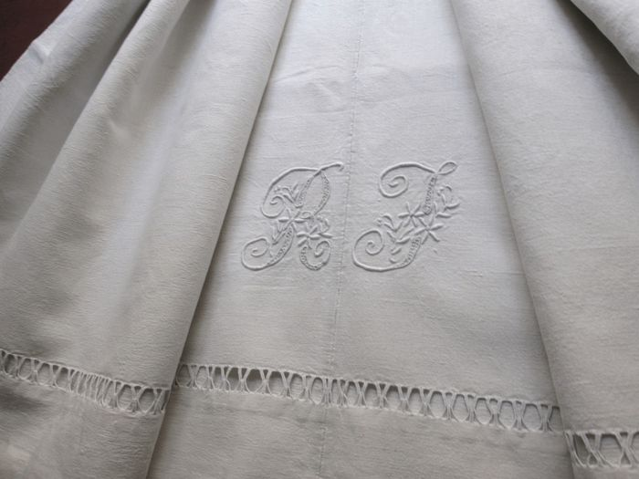 French 19th c. hemp sheet monogrammed RF
