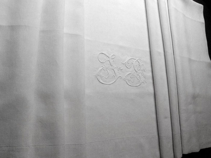 Antique French linen sheet, monogram :JP, Size: queen