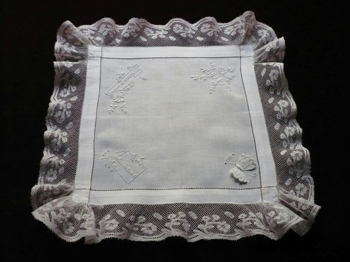 Vintage wedding hankerchief, dated:1906