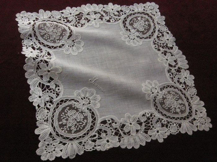 Wedding embroidered handkerchief, 1910