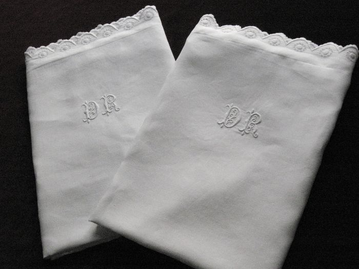 French embroidred pillow shams, monogrammed: DR