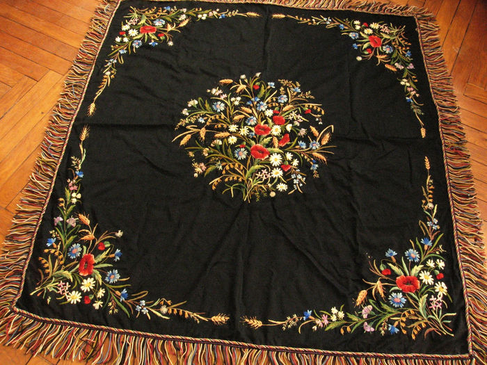 Antique embroidered table throw