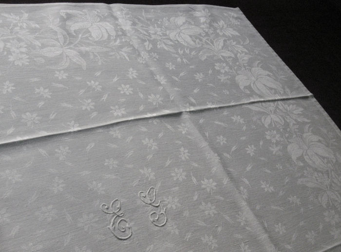 6 antique linen napkins, monogram: eg