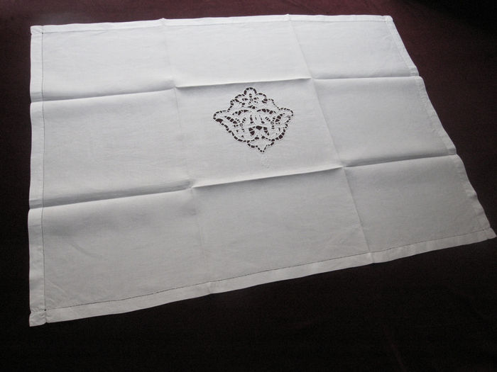 Set of 9 linen napkins monogram LF