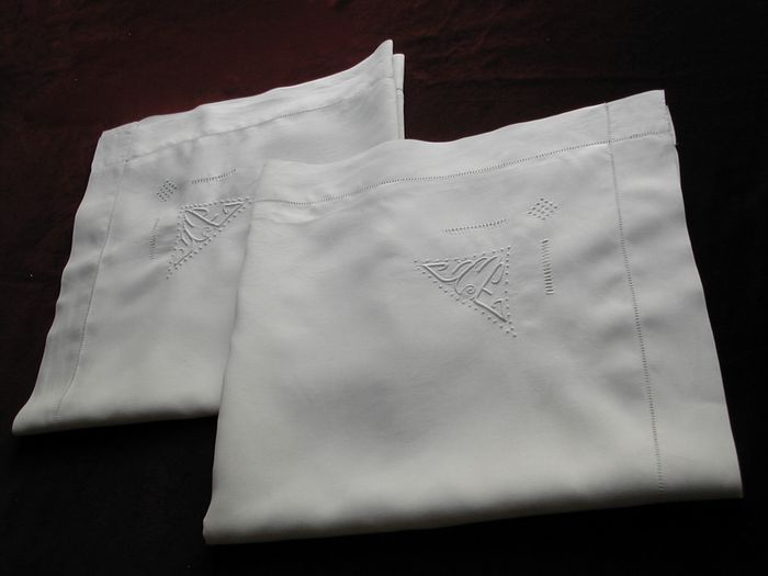 Pair antique French linen shams monogram TE