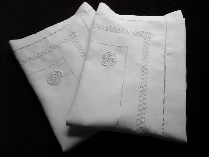 Antique linen pillow sham, monogram RT