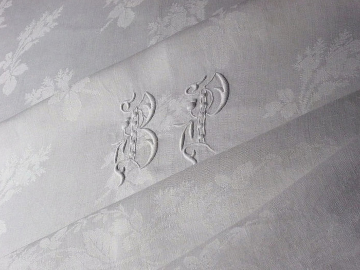 Antique damask set table cloth and napkins, monogram BP
