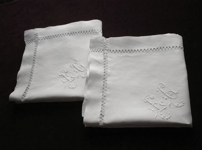 pair of French pillow shams  monogram EG