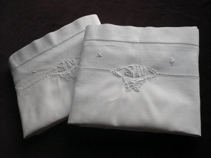 Embroidered pair of linen pillow shams, monogram: SN