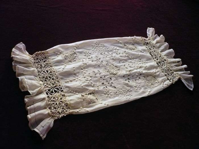 Romantic embroidered cotton voile boudoir bolster sham 19th c.