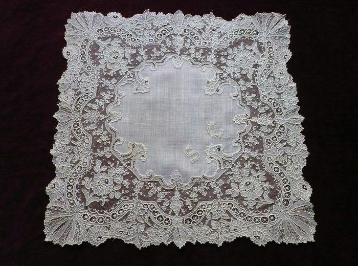 Brussels lace handkerchief monogram SC