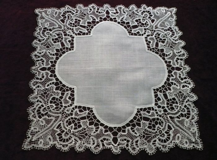 large antique embroidered handkerchief