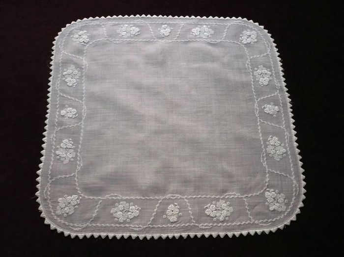 French linen embroidered handkerchief