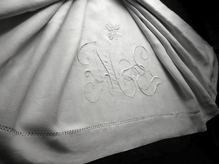 antique linen sheet monogram MG